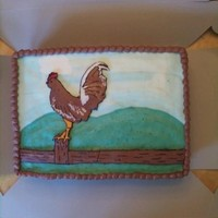 Rooster  White buttermilk cake w/ strawberry filling. The background (grass/sky) FBCT as are the rooster and fence. The rooster's legs broke...