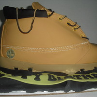 Timberland Boot Cake Butter cake with French Vanilla Buttercreme covered in MMFondant, everything is edible