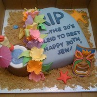 The Death Of The Twenties... Tombstone cake celebrating the end of the 20's, luau themed. White almond cake, cream cheese frosting, covered in fondant with brown...