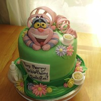Cheshire Cat Alice and Wonderland themed cake with the Mad Hatter's hat and the Cheshire Cat.
