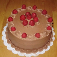 Chocolate Raspberry Chocolate buttercream with a dark chocolate cake and raspberry filling...mmm...