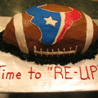 Navy Reinlisting/ Texans Fan Client asked for a football shaped cake (expecting me to draw a football on a sheet cake) with the Texans logo on it. I gave her this and...