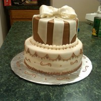 White And Brown Just a practice for a wedding cake.
