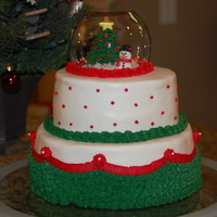 Christmas Snowglobe Buttercream frosting with fondant snowman.