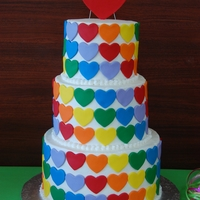 Heart, Hearts And More Hearts Buttercream frosting with fondant accents and rainbow layers