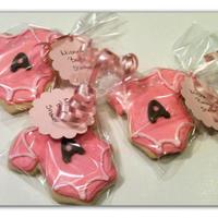 Baby Shower Cookies   Baby shower onsies with the personalized A for the new babys name!