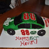 Dale Ernhardt Jr. Racecar Cake 50th birthday cake for my husband's uncle, who is a big Jr. fan. Checkerboard white cake and chocolate, with buttercream icing. My...