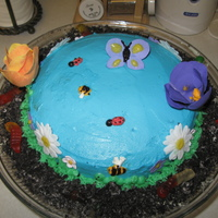 "Garden Cake First time using gumpaste. Made for a dinner party. ""dirt cake"" around bottom."
