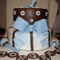 "Boy Baby Shower Cake   10"" and 8"" marble cake with ganache filling gumpaste deco"