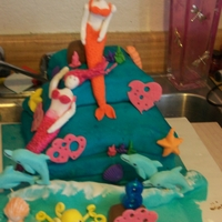 Mermaids At Play first time i sold a cake. it is supposed to look like debbie browns cake. i know i need more practice. But I am proud of this cake becase...