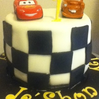 Cars For Smashing   made this smash cake for my nephew's first birthday. he loves cars so i make a chocolate chip cake with vanilla buttercream