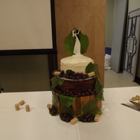 Rustic Wedding Cake Was asked to make a plain cake with boiled icing look fancier for pictures. The bride had a wooden salad bowl turned upside down for the...