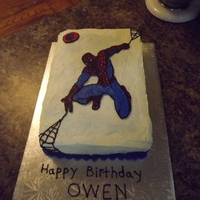 Spiderman Cake Chocolate devils food cake with cookies and cream pudding filling. Covered in FIMB, spiderman is FBCT. first time using that technique,...