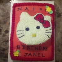 Hello Kitty  We made this for a cousin. All buttercream on both cakes. Hello Kitty was drawn, and cake was carved using a template. This was fun for us...