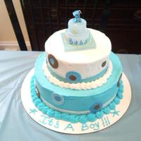 Baby Shower Cake This was made for our cousin. Buttercream with fondant accents,.