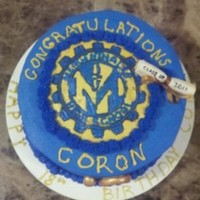 Graduation Cake We worked on this graduation cake for my nephew. It was also his 18th birthday. Buttercream with frozen buttercream transfer, and fondant...