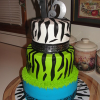 Zebra Birthday Cake   strawberry cake with buttercream icing/with fondant zebra print