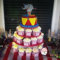 Circus Themed Cupcake Tower With Popcorn Cupcakes Amp Gumpaste Elephant Circus themed cupcake tower with popcorn cupcakes & Gumpaste elephant.