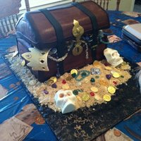 Pirate Treasure Cake my first pirate cake. Isomalt jewels, white chocolate skulls and chocolate coins