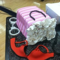 Gift Bag With Bra   gumpaste bra, isomalt gems, white chocolate hand cuffs. Tjis is my first gift bag cake