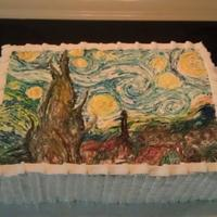 Starry Night Cake This is a pumpkin spice cake with a pumpkin pie filling. Buttercream frosting and for the painting I just used a wet paint brush and my gel...