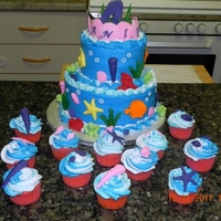 Ariel Ocean Theme Cake Made for a friends daughter. TFL!