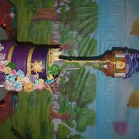 Tangled Birthday My daughters 6th Birthday cake. The tower is pvc pipe covered in ricecrispy and fondant. The top part of the tower is carved stryofoam. The...