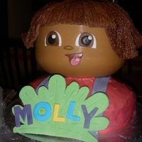 Dora The Explorer Pinata Another pinata character...chocolate head filled with lollies. Separate chocolate scalp covered with royal icing hair. Fondant features etc...