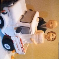 Gumpaste Bride And Groom Handmade gumpaste bride and groom figurines (in coordinating outfits to their humans), riding the grooms rusty ute, with their fave beer...