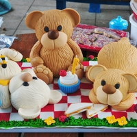 Teddy Bears Picnic Teddy bodies made using dolly varden tin with white choc fudge cake. Heads made with rice crispies and all covered with fondant. Ears,...