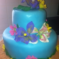Luau Themed Cake Luau themed 60th Birthday Party. MMF flowers