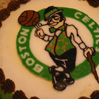 Boston Celtics Fan Birthday Cake White vanilla cake with vanilla buttercream. The logo is a FBCT.
