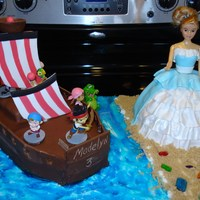 Crispy Treat Boat With Chocolate Fondant And Cake Princess Crispy treat boat with chocolate fondant and cake princess