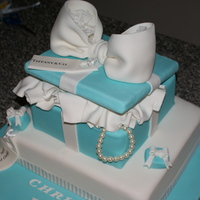 Tiffany Box Cake - Christening Tiffany Box Cake for a special Christening, all edible except the lid & pearls. I love this cake was fun from the beginning to the end...