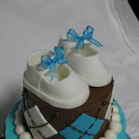 3 Tier Brown And Blue Baby Shower