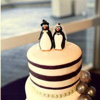 Purple And Green Bubbles Wedding Cake The wedding was very whimsical; the bride and groom chose penguins because they mate for life. Her original request was for stripes and...