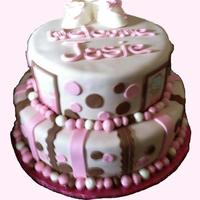 Baby Shower 6 & 9' covered in fondant with pink & brown deco. Edible pix to match baby quilt.