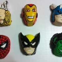 "Super Heroes Cakelets   These are cakelets, using the cake pan from Williams Sonoma. These are 4"" x 3"" and serve 2 people. Fondant accents."