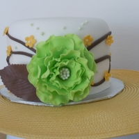 Sample Wedding Cake Green, Brown, And Yellow