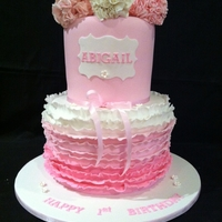 Double Stacked Cake Ruffled With Fantasty Flowers
