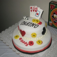 Casino Birthday Cake All Fondant Casino Cake. Fondant Cards, Chips, and decorations.