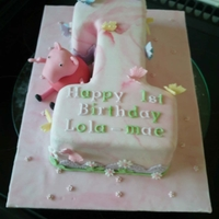 Peppa Cake hand made Peppa Pig 1st birthday cake