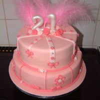 Pink 21St   Chocolate and vanilla cake. Pink with pink and a litle more pink!