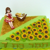 Wheat And Sunflower Fields  After a wheat harvest celebration this little girl wanted a birthday cake with a little girl holding a bushel of wheat.I took some artistic...