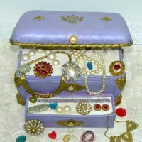 Purple Open Jewelry Case Cake   Purple Open Jewelry Case Cake