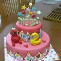 Elmo Cake  This was for my youngest grand daughter's 2nd birthday. She carries Elmo with her wherever she goes since she was a baby. The number 2...