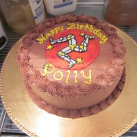 Isle Of Man Strangest Flag I've ever seen! She loved the cake. Chocolate cake, chocolate buttercream icing.
