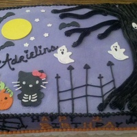 Hello Kitty Halloween 1/2 sheet chocolate with choc bettercreme made for my niece. Hello Kitty is trick or treating! All BC with MMF accents