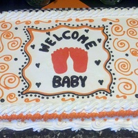 Orange & Black Shower Cake Made this half sheet for my niece. Color scheme was orange black and white. Didn't want it to look like a Halloween cake. Confetti...