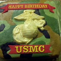 "Usmc Birthday Made overnight for my brother. Wish I could have smoothed the BC more and spelled out ""UNITED STATES MARINE CORPS"" instead of the..."